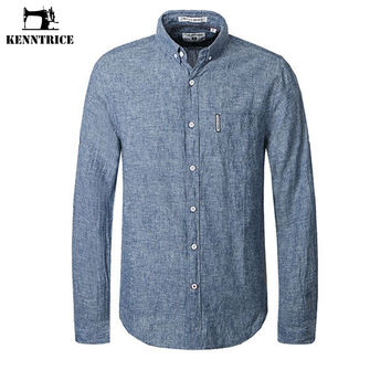 Men's Flax Casual Shirt Melange Grey Male Social Dress Shirt Long Sleeve Linen Men Popular Shirts