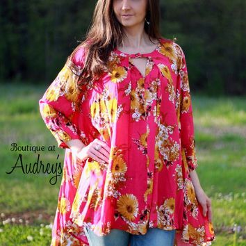 Fuchsia and Mustard Floral Print Keyhole Tunic with High Low Hem