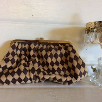 Vintage Shiseido, Kiss Clasp Clutch, Vintage Cosmetic Bag, Brown Clutch, Tan Bag, Checked Clutch, Harlequin, Faux Fur Bag