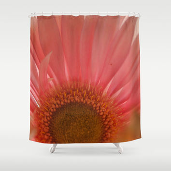 Pastel Pink and Yellow Daisy Center Shower Curtain by Blooming Vine Design