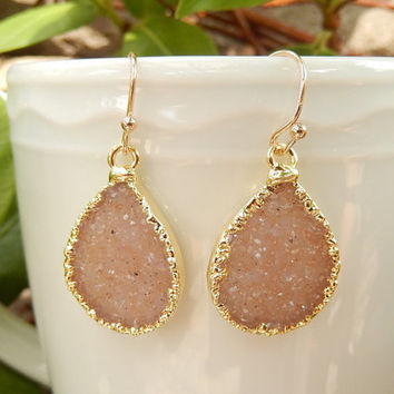 Druzy Teardrop Earrings 14K Gold Crystal Agate Quartz Dangle Drop Drusy - Free Shipping Jewelry