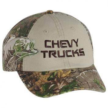 Chevy Trucks Camo/Tan new ball cap with a Bass Patch by Realtree and w/tags