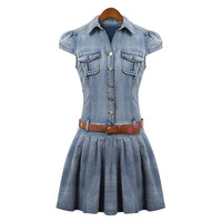 Blue Button Up Ruffled Denim Dress