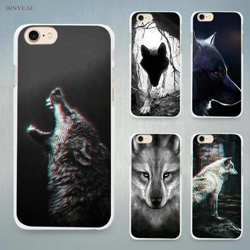 Classic Cool Wolf Hipster Hard White Cell Phone Case Cover for Apple iPhone 4 4s 5 5C SE 5s 6 6s 7 8 Plus X