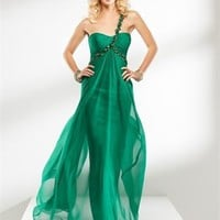 Strapless tulle green fuchsia one-shoulder prom dresses 2012 PDM4014
