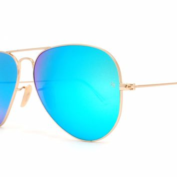 New Ray-Ban Aviator Sunglasses Blue Mirror Flash Lenses Gold Frames RB 3025 58mm