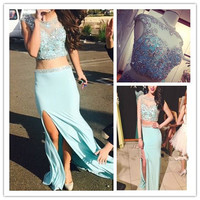 Two Piece Prom Dresses,Blue Prom Dresses,Long Evening Dress