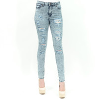Acid wash distressed high waised skinny jeans by Just USA