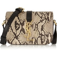 Saint Laurent - Monogramme Sac Université python and leather shoulder bag