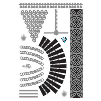 Metallic Silver Black Temporary Tattoo (1 Sheet) - Hollywood Glamour