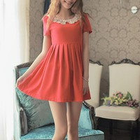 Women Polyester  Round Neck Short Sleeve Invisible Zipper Pleated Red  Dress S/M/L@MF9817r