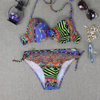 Ladies Ethnic Printed Push up Bikini Swimsuit