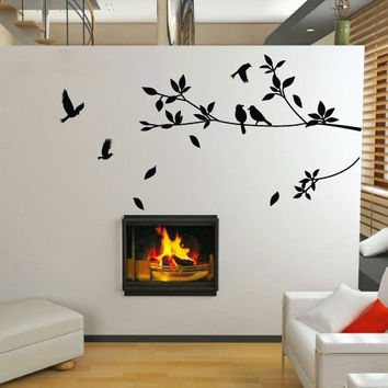 Wall sticker tree birds, Decor Vinyl stickers Trees with leaves, Removable Furniture Decal  Art Decal Decor DIY! Free shipping!