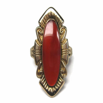 Vintage 12K Gold Filled Carnelian Ring Size 7.5 Bell Trading