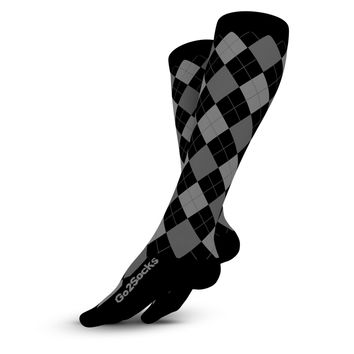 Compression Socks 2 Pair Black and Gray Argyle 20-30 mmHg