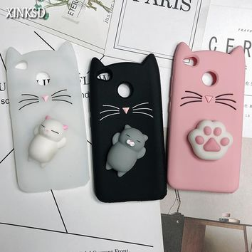 XINKSD  3D Cute Cat Case Squishy Phone Case Lovely Soft Cat Cases For Xiaomi Redmi Note 3 4 4X 4A 5A 5 Pro Cover Coque