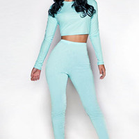 Sky Blue Twinkling Pants with Long Sleeved Shirt