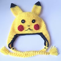 Pokemon Inspired Beanie, Pickachu Hat, Crochet Pickachu Beanie, Birthday Gift for Boys, Baby outfits for pictures, Pokemon Go Hat, Winter