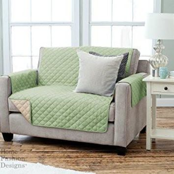 Deluxe Reversible Quilted Furniture Protector. Two Fresh Looks in One. By Home Fashion Designs Brand. (Loveseat - Thyme / Sand)