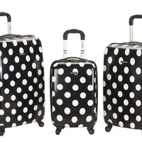 F208-BLACKDOT 3 Pc Laguna Beach Upright Luggage Set
