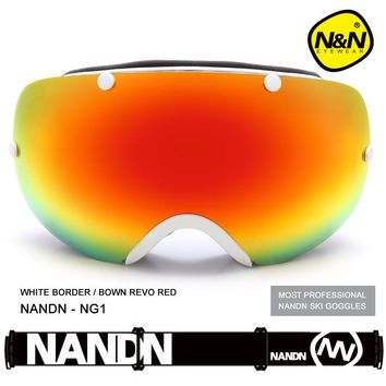 NANDN SNOW Ski glasses double lenses Anti fog uv400 protection Ski goggles men women