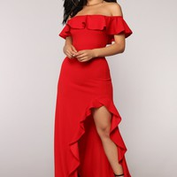 Chasin' Love Ruffle Dress - Red