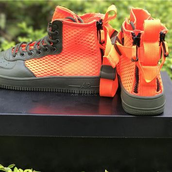 LMFON Nike Air Force 1 Mid  Orange For Women Men Running Sport Casual Shoes Sneakers