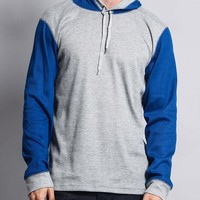 Contrast Waffle Knit Thermal Lightweight Hoodie