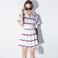 Striped Raglan Sleeves Loose Elastic Waist Dress
