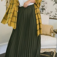 Aubrey Olive Pleated Midi Skirt