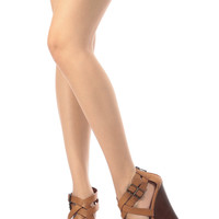 Tan Faux Leather Cross Strap Wooden Platform Wedges