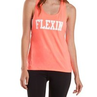 Neon Coral Braided-Back Flexin Graphic Tank Top by Charlotte Russe