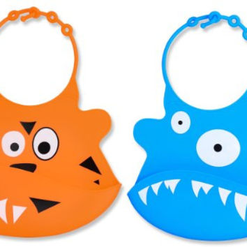 Soft Silicone Baby Bibs with Food Pocket From Jamika Products - Great Baby Food Bib - Made of Waterproof Washable Scentless Silicone Plastic