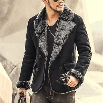 New Winter Slim Double Breasted Faux Leather Jacket