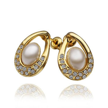 18K Gold Acorn Shaped Stud Earrings with Jewels Covering Made with Swarovksi Elements