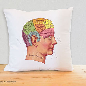 Pherenology head chart pillow cover-geek pillow cover-steampunk pillow-Christmas gift-home decor-anatomy pillow-by NATURA PICTA NPCP033