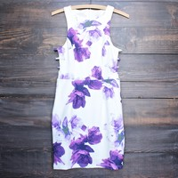 floral print embossed fabric with side cut out dress