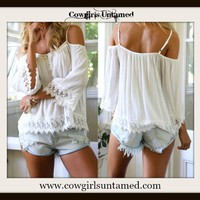 WILDFLOWER TOP White Chiffon and Lace Trim Open Shoulder Boho Top, peasant, crop top, crooped top, Chiffon Boho Top, top, cropped, cropped top, white, lace, lace top, cover up, coverup, bikini coverup top, boho top, gypsy top, gypsy style, boho top, boho