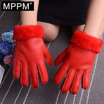 Girls Genuine Sheepskin Leather Gloves With Wool And Fur Lining
