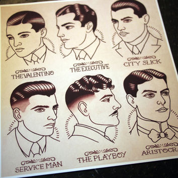 "1920's Gentlemen's Hairstyle Guide 11""x11.5"""