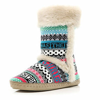 Cream faux fur trim aztec slipper boots - slippers - loungewear / all in ones - women