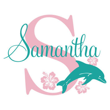 Dolphin Wall Decal Personalized Name And Initial With Hawaiian Hibiscus Flowers Ocean Beach Theme For Girls Room Wall Art 22H x 30W GN054
