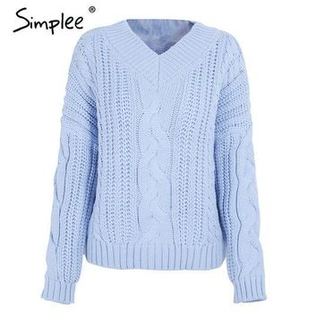 Simplee knitting pullover Autumn winter long sleeve sweater