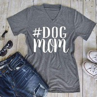 #Dog MOM Printed T-Shirt