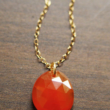 Rosecut Carnelian Gold Necklace