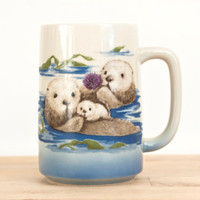 Vintage Otagiri TALL Otter Mug, Endangered Species Coffee Cup, Otter Family Mug with Baby, OMC Made in Japan