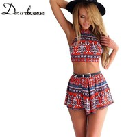 Aztec Tribal/Boho Cherry Red Pattern Print women two-piece outfits  Crop top and Shorts Set