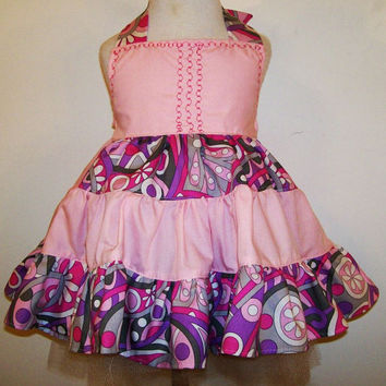 Girls 3 Tier Twirl Halter Dress-Lavender and Pink--Baby-Toddler--Tween girls---#600