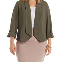 Plus Size Olive Cuffed Sleeve Open Front Blazer by Charlotte Russe