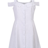 White V-Neck Stripe Print Cold Shoulder Cami A-line Mini Dress